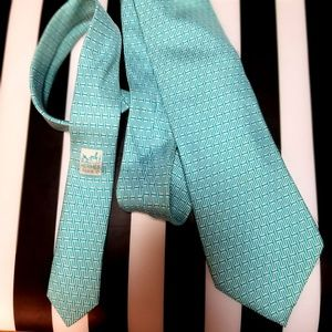 """HERMES Monogram """"H"""" Logo Necktie Tie Turquoise"""